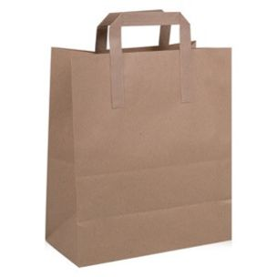 Small Brown Paper Carrier Bags with Flat Handles (175x80x215mm) 1x250