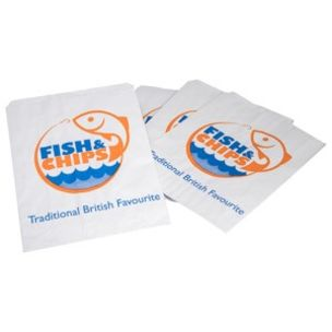 """Fish & Chips Greaseproof Lined SOS4 Bags (6""""x7.5"""")-1x1000"""