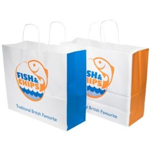 Fish & Chips Large Paper Carrier Bags (Twisted Handle) (360x310x155mm)  1x125