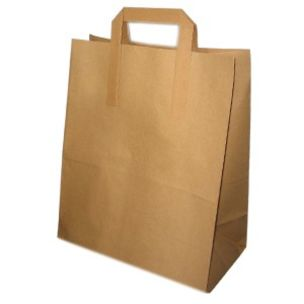 JJ Premium Large Brown Paper Carrier Bags with Flat Handles(260x140x310mm) 1x250