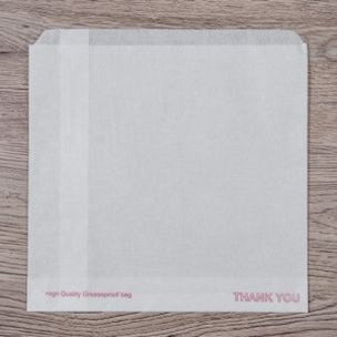 """White Printed """"Thank You"""" Grease Resistant Bags (7""""x7"""") 1x1000"""