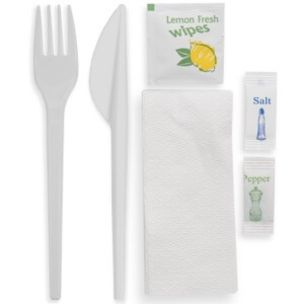 Standard-Weight Meal Pack (Fork-Knife-Salt-Pepper-Wet Wipes-1ply Napkin)-1x250