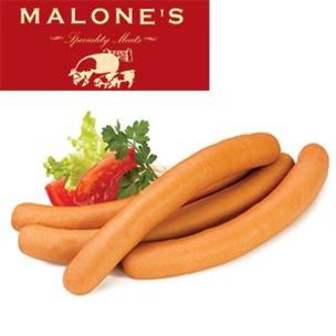 "Malones Frankfurters 7.5"" (Hot Dogs)-60x65g"