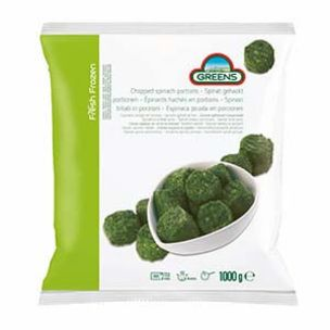 Greens Frozen Chopped Spinach Portions (Bags)-1x1kg