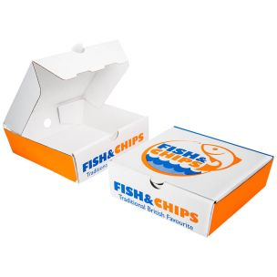 """5"""" Cardboard Fish & Chips Boxes (160x50x155mm) 1x100"""
