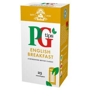 PG Tips English Breakfast Tea Enveloped Bags-6x25
