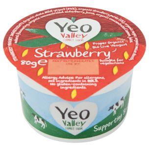 Organic Yeo Valley Strawberry Yogurt-12x80g