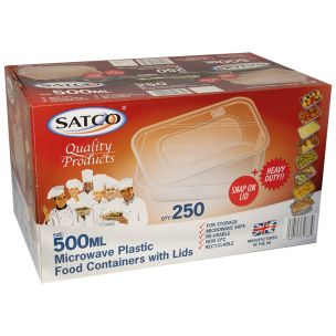 Satco 500ml Microwave Plastic Containers with Lids-1x250