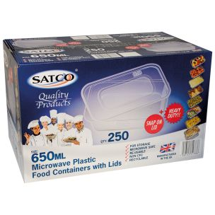 Satco 650ml Microwave Plastic Containers with Lids-1x250