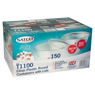 Satco 750ml Round Microwave Plastic Clear Cups with Lids (T1100)-1x150