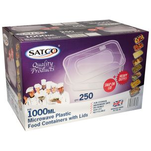 Satco 1000ml Microwave Plastic Containers with Lids-1x250
