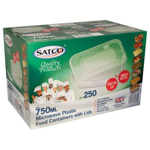 Satco 750ml Microwave Plastic Containers with Lids-1x250