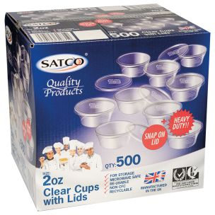 Satco 2oz Microwave Plastic Clear Cups with Lids-1x500