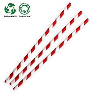 Red & White Compostable Paper Straws (197x6x6mm) 1x250