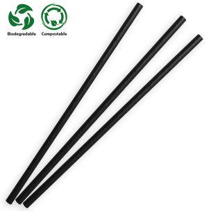 Black Compostable Paper Straws (197x6x6mm) 1x250