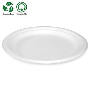 "7"" White Bagasse Plates (180x180x17mm) 1x500"