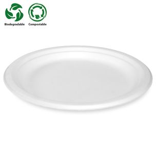 "9"" White Bagasse Plates (230x230x17mm) 1x500"