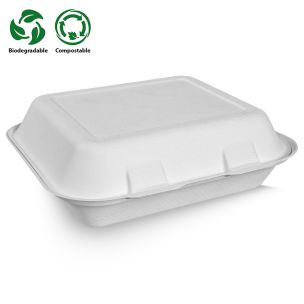 Large White Bagasse Food Box (240x70x151mm) (HBB51) 1x250