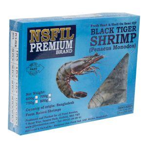 NSFIL Premium Semi - IQF Raw HOSO Black Tiger Prawns(13/15, 750g net)-1x1kg