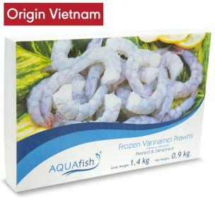 Aquafish Raw Vannamei Prawns P&D  (31/40, 900g net)-6x1.4kg
