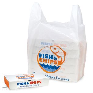 Fish & Chips Jumbo Vest Carrier Bags (330x220x580mm) 1x1000