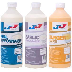 JJ SQ-easy Multi-Pack (Mayo+Garlic Mayo+Burger Sauce Bottle)-3x1L