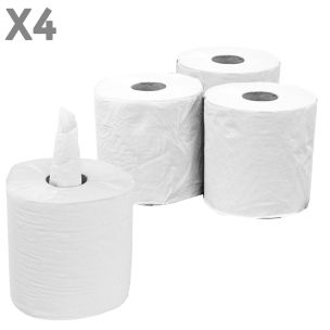 2 Ply Centrefeed White Rolls (20.7cmx110m)-1x4