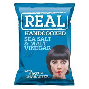 Real Handcooked Crisps Sea Salt & Malt Vinegar-24x35g