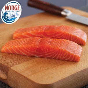 Frozen Norwegian Skinless & Boneless IQF Salmon Portions (4-5oz)-1x10