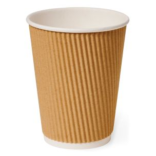 12oz Brown Ripple Wall Paper Hot Cup (Lid Ref CUP158) 1x500