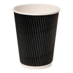 12oz Black Ripple Wall Paper Hot Cup (Lid Ref CUP158) 1x500
