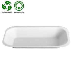 Small White Bagasse Chip Tray (No1) (179x101x24mm) 1x500