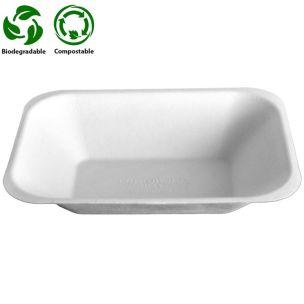 Medium White Bagasse Chip Tray (No2) (178x132x37mm) 1x500