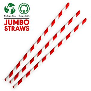 Jumbo Red & White Compostable Paper Smoothie Straws (230x8x8mm)1x250