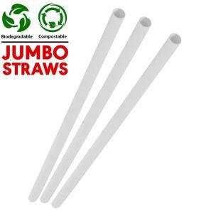 Jumbo White Compostable Paper Smoothie Straws (230x8x8mm) 1x250