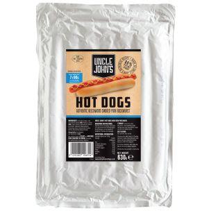 "Uncle Johns Premium Beechwood Smoked 9"" Bockwurst Hot Dogs 7x90g"