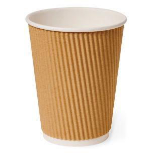 16oz Brown Kraft Ripple Wall Hot Cup (Lid Ref CUP158) 1x500
