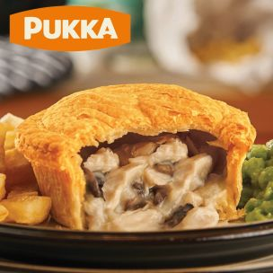 Pukka Wrapped Cooked Chicken & Mushroom Pie-1x12