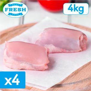 Fresh Halal Skinless Boneless Chicken Thigh Meat-4x1kg