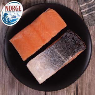 Frozen Norwegian Skin-on & Boneless IQF Salmon Portions (5-6oz)-1x10