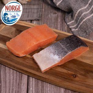 Frozen Norwegian Skin on & Boneless IQF Salmon Portions (4-5oz)-1x10