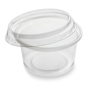 4oz Microwave Plastic Clear Cups with Lids-1x1000