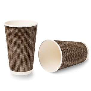 16oz VIP Ripple Wall Paper Hot Cup (Lid Ref CUP158) 1x500