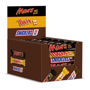 Assorted Mixed Box 100KCal Chocolate Bars (Mars, Snickers, Twix) 1x32