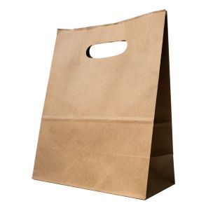 Medium Brown Paper Carrier Bags with Punch out Handles (220x110x280mm) 1x250