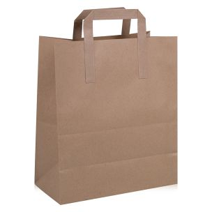 Large Brown Paper Carrier Bags with Flat Handles (250x140x300mm) 1x100