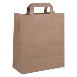 JJ Premium Medium Brown Paper Carrier Bags with Flat Handles(220x110x280mm)1x250