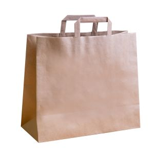 Jumbo Brown Paper Carrier Bags with Flat Handles (360x150x315mm) 1x125