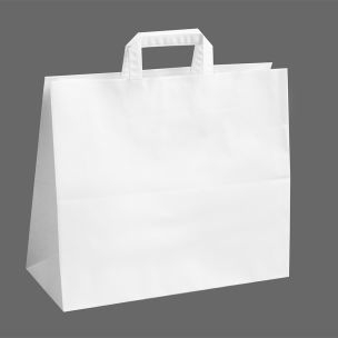 Jumbo White Paper Carrier Bags with Flat Handles (360x150x315mm)-1x125
