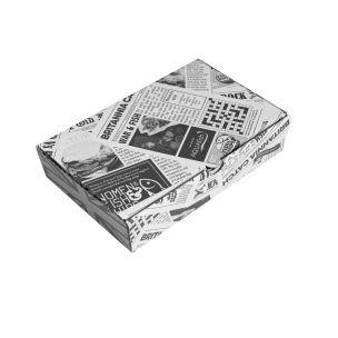 "9"" Newspaper Print Cardboard Fish & Chips Boxes (250x55x160mm) 1x100"